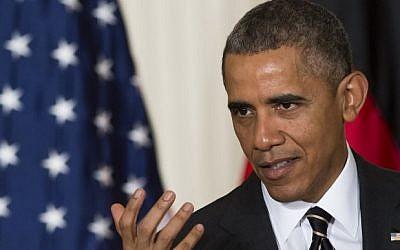 US President Barack Obama at the White House in Washington, DC, February 9, 2015. (photo credit: AFP/Saul Loeb)