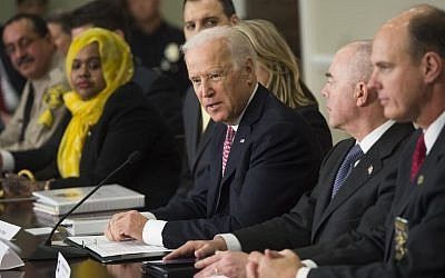 US Vice President Joe Biden speaks during the opening session of the White House Summit on Countering Violent Extremism at the Eisenhower Executive Office Building in Washington, DC, February 17, 2015. (photo credit: AFP/SAUL LOEB)