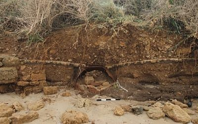 Ancient pot uncovered during Wednesday's storm (photo credit: courtesy Israel Antiquities Authority)
