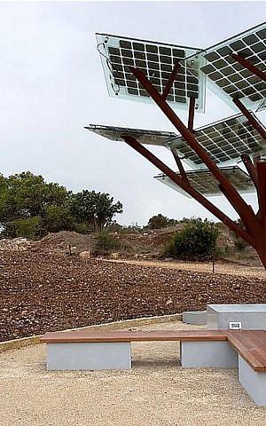 The e-tree designed by Israeli renewable energy startup Sologic, at Ramat Hanadiv (Courtesy Sologic)