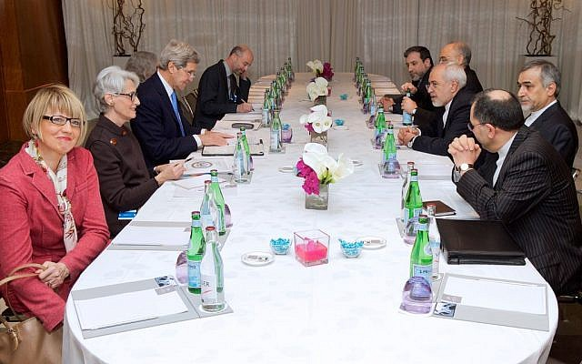 US and Iranian officials meeting in Geneva on February 23, 2015 (photo credit: US State Department)