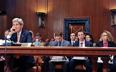 John Kerry, far left, speaking to US lawmakers in Washington on February 24, 2015. (photo credit: US State Department)