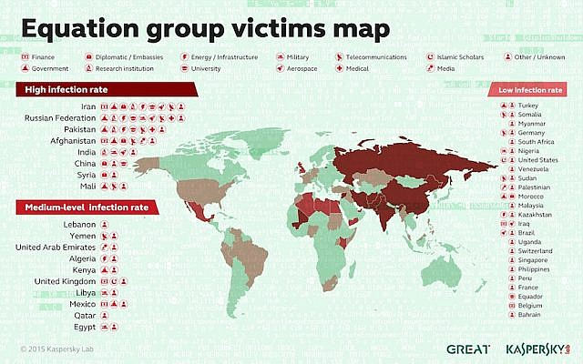 Map of Equation Group's victims (Photo credit: Courtesy)