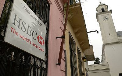 An HSBC branch in Uruguay. (photo credit: CC-BY Philip Chol, Flickr)