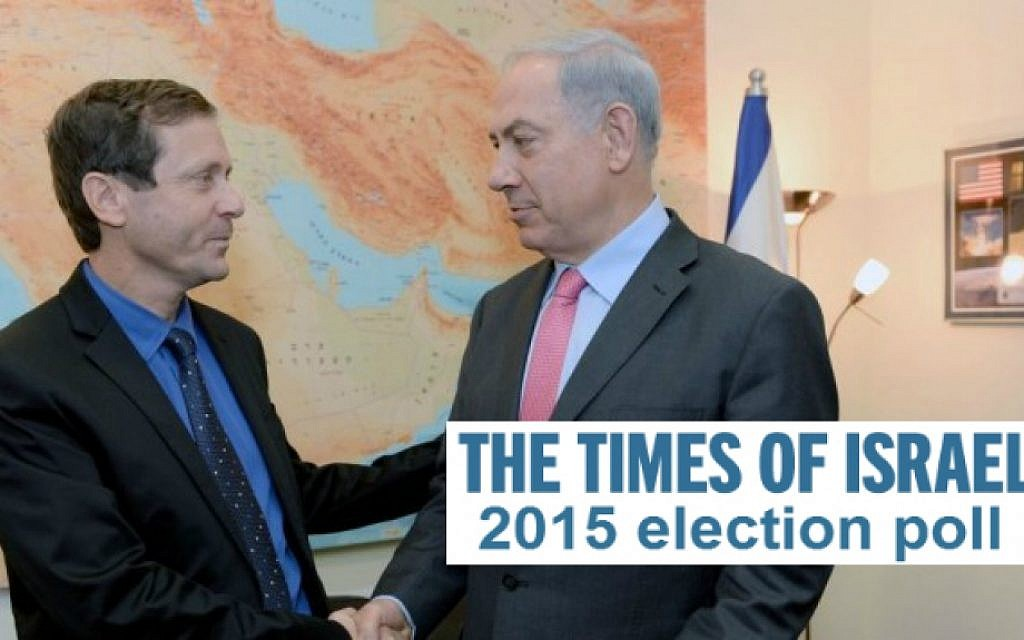 Labor and Zionist Camp leader Isaac Herzog with Prime Minister Benjamin Netanyahu (Photo credit: Flash 90)