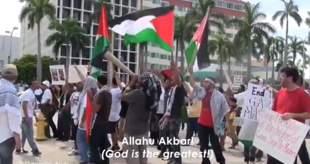 This 'Crossing The Line 2' still shows a pro-Palestine demonstration on a North American campus. (courtesy)