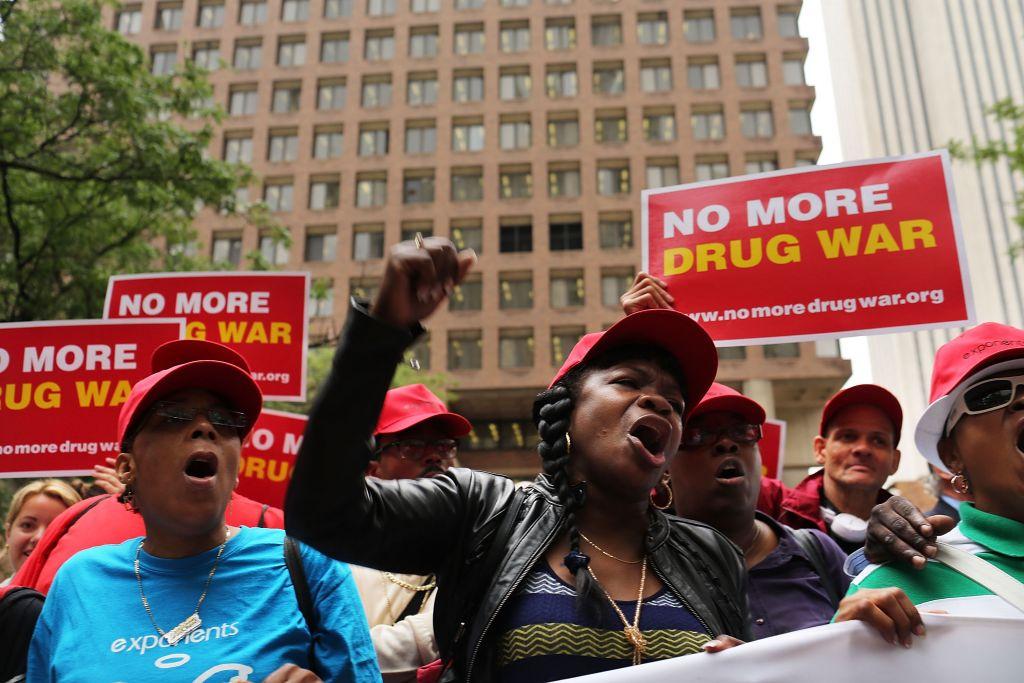 Marijuana legalization advocates and members of community groups at a New York rally against marijuana arrests, June 13, 2012. (Spencer Platt/Getty Images/JTA)