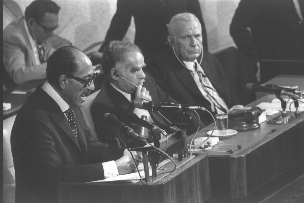 Egyptian president Anwar Sadat addresses the Israeli Knesset in Jerusalem, November 20, 1977 (photo credit: Flash90)