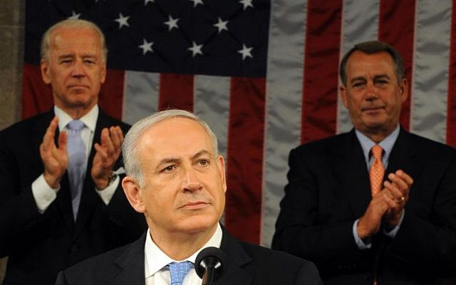 Benjamin Netanyahu receiving a standing ovation from Vice President Joe Biden and House Speaker John Boehner during a speech to Congress on May 24, 2011. (photo credit: Avi Ohayon/GPO/Flash90)