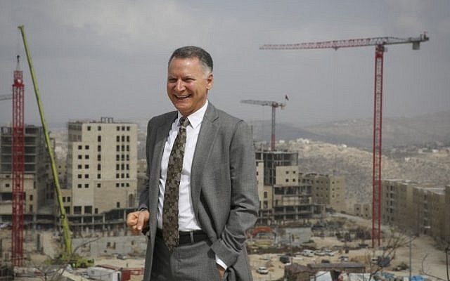 Palestinian entrepreneur Bashar-Masri in front of his residential project of Rawabi, on February 23, 2014 (photo credit: Hadas Parush/Flash 90)