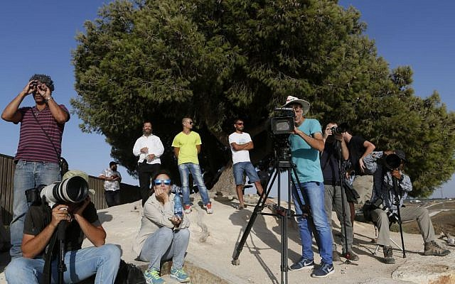 Journalists stand on a hill overlooking the Gaza Strip at the height of Operation Protective Edge, July 13, 2014 (photo credit: Miriam Alster/FLASH90)