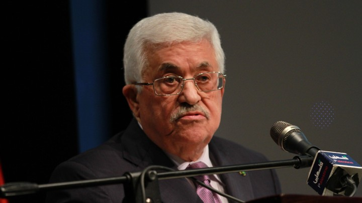 Palestinian Authority President Mahmoud Abbas attending an exhibition in Ramallah, January 4, 2015. (photo credit: Flash90)