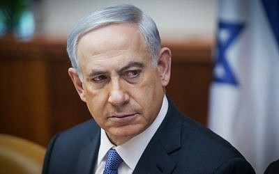 Prime Minister Benjamin Netanyahu, February 1, 2015 (photo credit: Alex Kolomoisky, Pool)