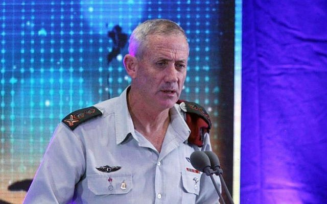 Former IDF Chief of Staff Benny Gantz speaks during a decorations and citations ceremony at the Palmachim Airbase on Feb 2, 2015. (photo credit: Flash90)
