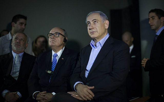 Benjamin Netanyahu (right), with former New York mayor Rudy Giuliani in Jerusalem, on February 2, 2015 (photo credit: Yonatan Sindel/Flash90)