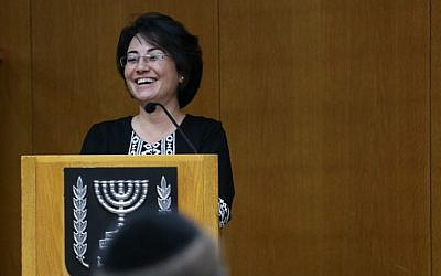 Arab Israeli MK Hanin Zoabi on February 12, 2015 (photo credit: Hadas Parush/Flash90)
