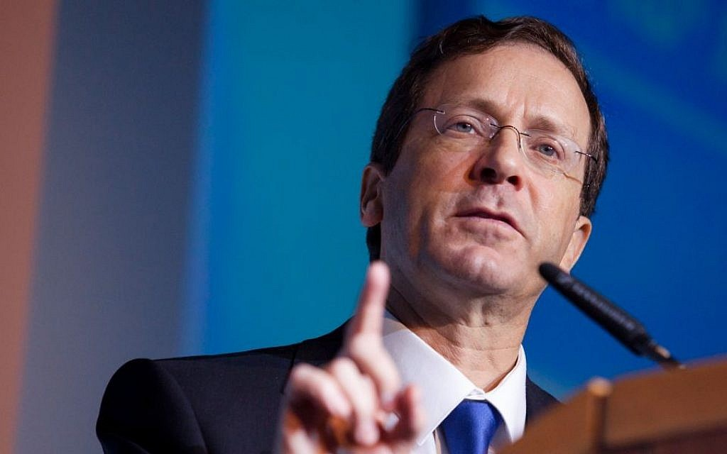 Zionist Union head and Labor Party leader MK Isaac Herzog in Tel Aviv, February 17, 2015. (photo credit Amir Levy/FLASh90)
