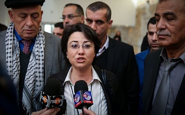 MK Hanin Zoabi speaks to the press on February 17, 2015 (Hadas Parush/FLASH90)