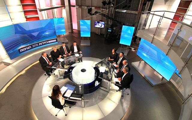 Israeli political party leaders gather for a televised debate at Channel 2 studios in Neve Ilan, near Jerusalem, on February 26, 2015. (screen capture: Channel 2 News)