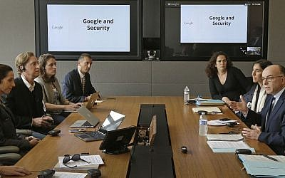 French Interior Minister Bernard Cazeneuve, right, gestures during a meeting with Google executives Friday, February 20, 2015, at Google headquarters in Mountain View, California (Photo credit: Ben Margot/AP)