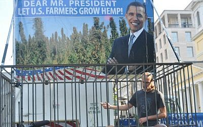 In 2012, David Bronner of Dr. Bronner's Magic Soaps locked himself in a steel cage with a dozen industrial hemp plants in front of the White House. (Courtesy of Dr. Bronner's)