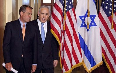Prime Minister Benjamin Netanyahu walks with House Speaker John Boehner of Ohio on Capitol Hill in Washington, May 24, 2011 (photo credit: AP/Evan Vucci, File)
