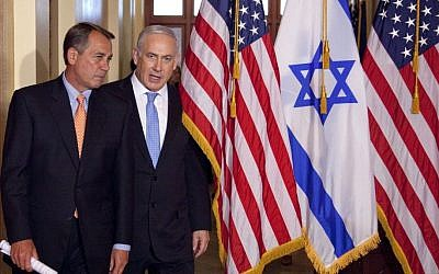 In this May 24, 2011, photo, Prime Minister Benjamin Netanyahu walks with House Speaker John Boehner of Ohio on Capitol Hill in Washington. (photo credit: AP Photo/Evan Vucci)