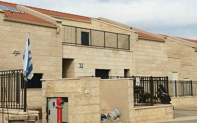 New homes for Netzer-Ariel families on Beit El Street in Ariel. (photo credit: Renee Ghert-Zand/Times of Israel)