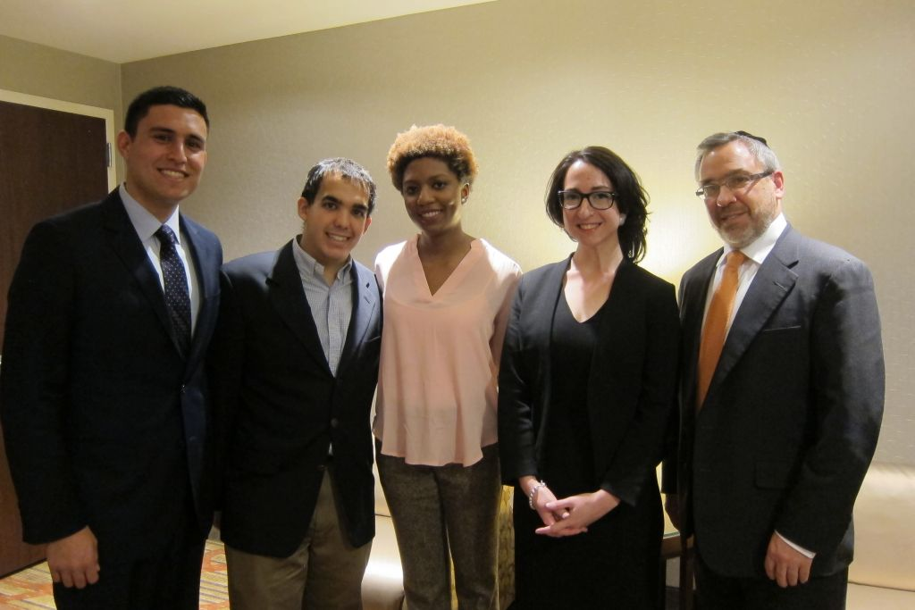 Some 800 gathered in New York on Wednesday, February 25, 2015 for the premiere of 'Crossing The Line 2.' From left to right: students Daniel Mael, Justin Hayet, and Chloé Valdary; director Shoshana Palatnik and producer Rabbi Raphael Shore. (Credit: Cathryn J. Prince/The Times of Israel)