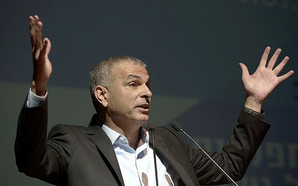 Leader of the Kulanu political party Moshe Kahlon, speaks during the Tel Aviv Citizens Empowerment Institute Conference on February 8. (photo credit: Tomer Neuberg/Flash90)