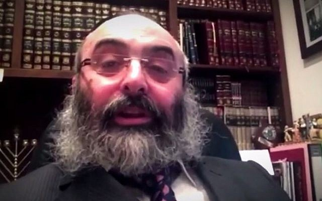 Rabbi Meir Shlomo Kluwgant, who resigned as president of the Organisation of Rabbis of Australasia, on February 16, 2015. (screen capture: YouTube/The Shabbos Project)