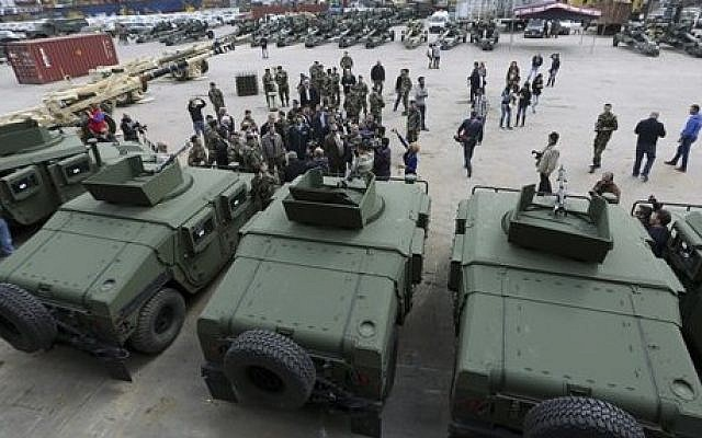 An illustrative photo of a handover ceremony of US weapons to the Lebanese army at Beirut's port in Lebanon on Sunday, Feb. 8, 2015. (AP Photo/Bilal Hussein)