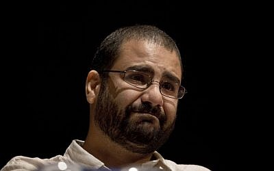 Egypt's most prominent activist Alaa Abdel-Fattah during a conference held at the American University in Cairo, Egypt, on September 22, 2014. (photo credit: AP/Nariman el-Mofty)