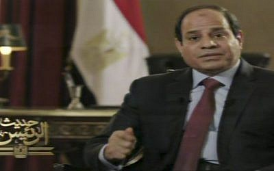 In this image taken from Egypt State TV, Egyptian President Abdel-Fattah el-Sissi speaks in a television address broadcast Sunday, Feb. 22, 2015. (Photo credit: AP/Egypt State TV)