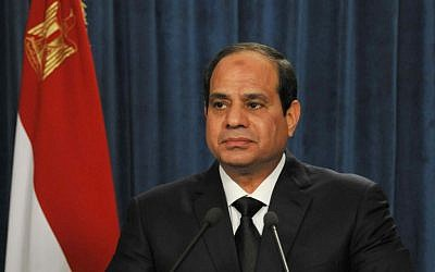 Egyptian President Abdel-Fattah el-Sissi, Monday, Feb. 16, 2015. (AP Photo/Egyptian Presidency)