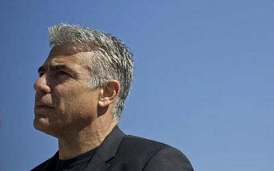 In this photo taken on Monday, Feb. 2, 2015, Yair Lapid, former finance minister and leader of the Yesh Atid party speaks in Ramle, central Israel. (photo credit: AP Photo/Ariel Schalit)