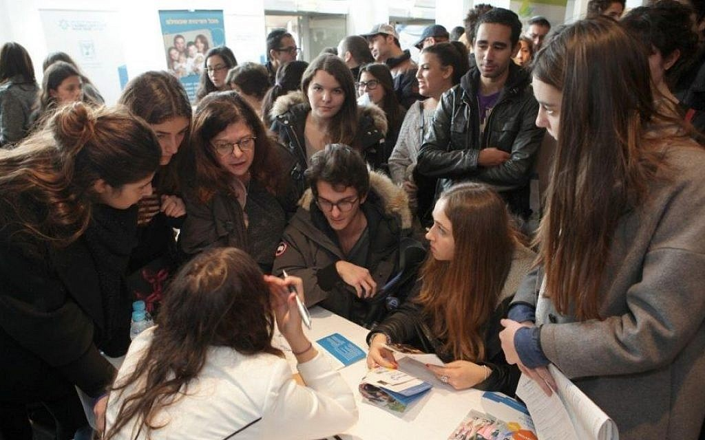 Visitors at the Israel Fair in Paris, held at the initiative of the Jewish Agency. (Jeremy Fourny/Courtesy Jewish Agency)