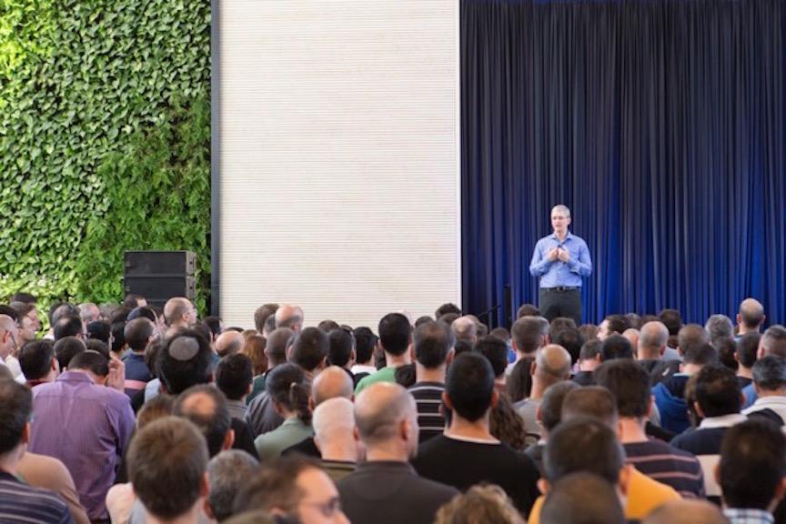 Tim Cook addresses the Herzliya employees (Photo credit: Courtesy)