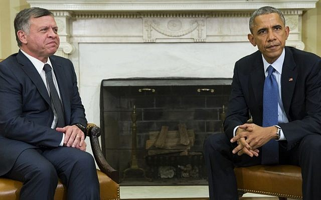 President Barack Obama, right, meets with King Abdullah II of Jordan in the Oval Office of the White House, on Tuesday, Feb. 3, 2015, in Washington. (photo credit: AP/Evan Vucci)