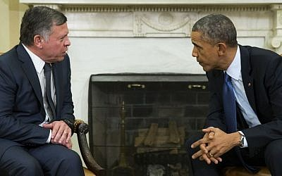 US President Barack Obama, right, meets with King Abdullah II of Jordan in the Oval Office of the White House, on Tuesday, Feb. 3, 2015.  (Photo credit: AP/Evan Vucci)