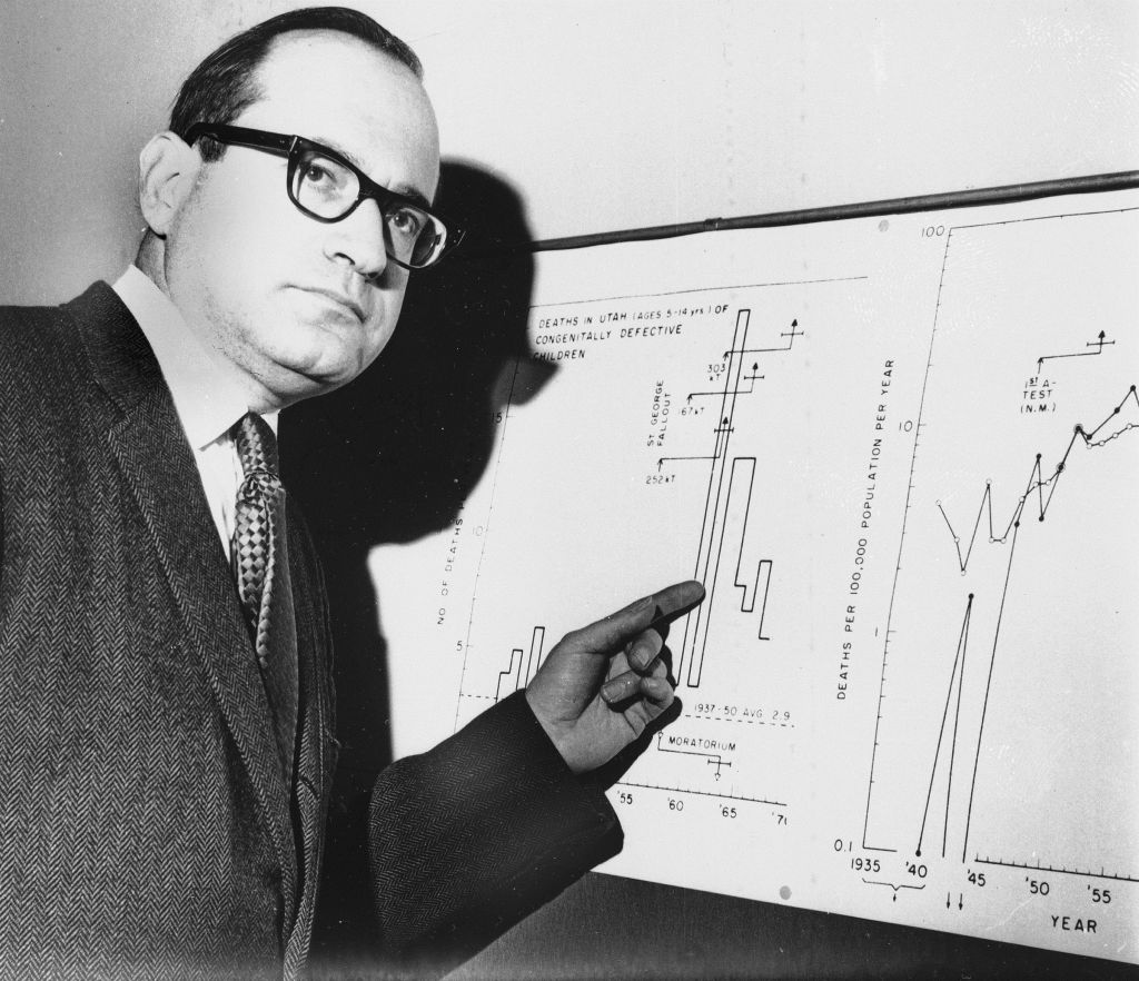 In this Jan. 27, 1970, file photo, Dr. Ernest J. Sternglass, professor of radiation physics at the University of Pittsburgh, holds radiation charts, which will be shown on a British television program on pollution dust, in London. (photo credit: AP/L. Brown, File)
