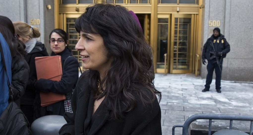 Nitsana Darshan-Leitner, with the Shurat HaDin Israel Law Center and representing those affected by attacks in Israel in the early 2000s, walks from a federal courthouse in New York on February 23, 2015. (photo credit: AP Photo/Craig Ruttle)