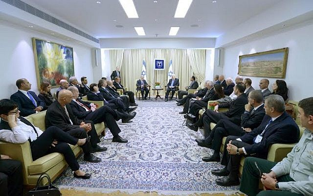 President Reuven Rivlin meets with business leaders at his residence in Jerusalem to tackle the underemployment of Arabs in the private sector, February 8, 2015 (photo credit: Mark Neyman/GPO)