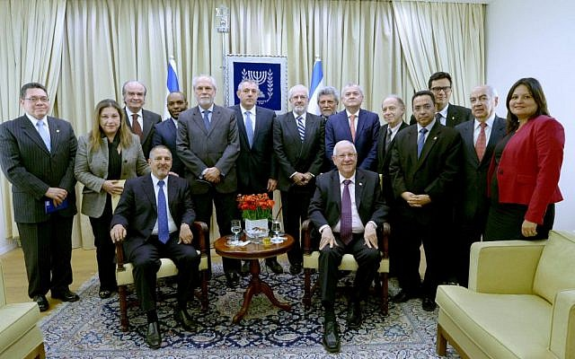 President Reuven Rivlin meets with ambassadors from Latin American countries in February 2015 (photo credit: Mark Neyman/GPO)