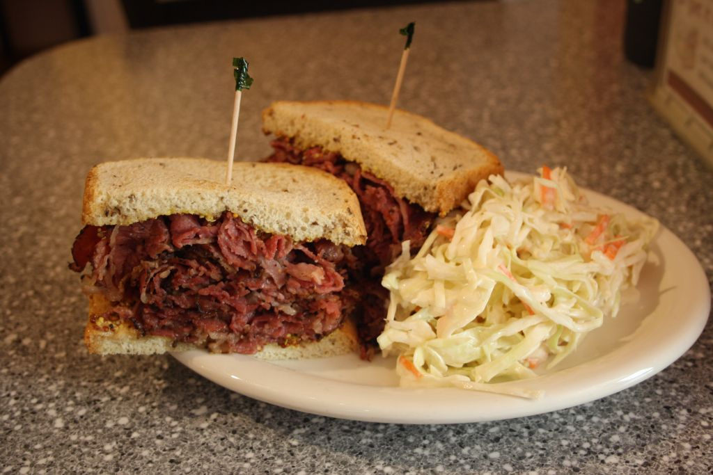 A pastrami sandwich at the 9th South Deli in Salt Lake City. (Anthony Weiss/JTA)