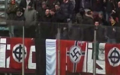 Italian neo-Nazis at a recent soccer match. (Illustrative image: YouTube screenshot)