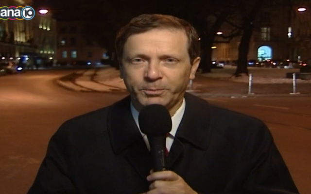 Zionist Camp leader Isaac Herzog speaks to Israeli Channel 10 from Munich, February 7, 2015 (Channel 10 screenshot)