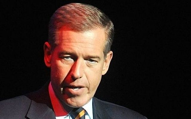 In this November 5, 2014 file photo, Brian Williams speaks at the 8th Annual Stand Up For Heroes, presented by New York Comedy Festival and The Bob Woodruff Foundation in New York. Williams says he's temporarily stepping away from his nightly newscast amid questions about his credibility. (photo credit: Brad Barket/Invision/AP)