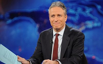"""Jon Stewart during a taping of """"The Daily Show with Jon Stewart"""" in New York in November 2011. (photo credit: AP/Brad Barket)"""