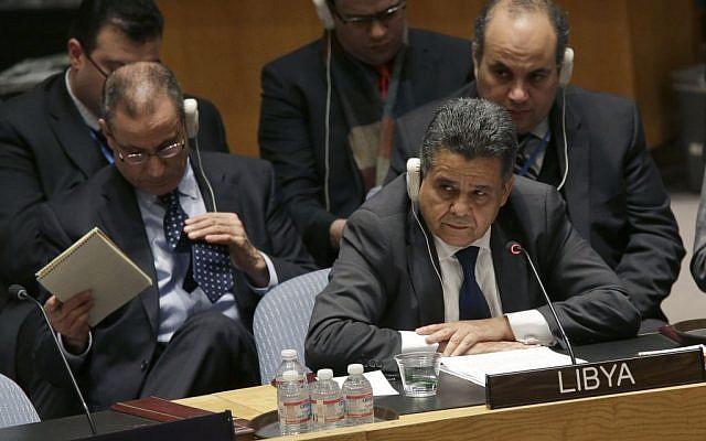 File: Libyan Foreign Minister Mohamed Elhadi Dayri speaks during a Security Council meeting on the situation in Libya, Wednesday, Feb. 18, 2015, at United Nations headquarters. (AP/Mary Altaffer)